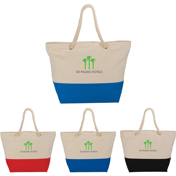 Promotional Zippered 12oz Cotton Canvas Rope Tote