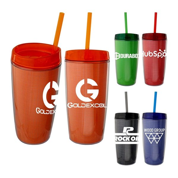 Promotional 16 oz Strand Wave Mug with Straw