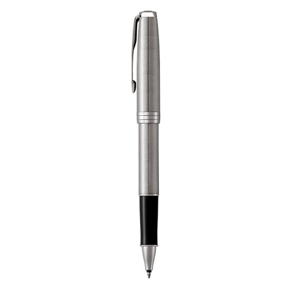 Promotional Parker Sonnet Capped Rollerball Pen, Stainless Steel W / Chrome Trim, Fine Point, Black Ink
