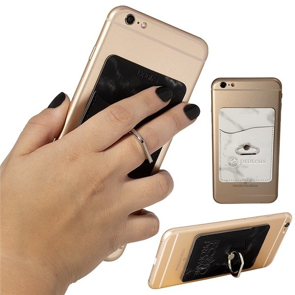 Promotional Leeman(TM) Marble Card Holder with Metal Ring Phone Stand