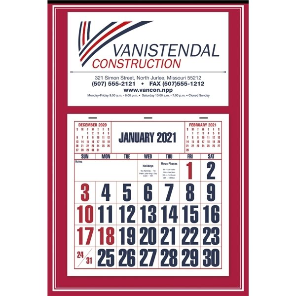 Promotional Easy to Read Calendar - Red