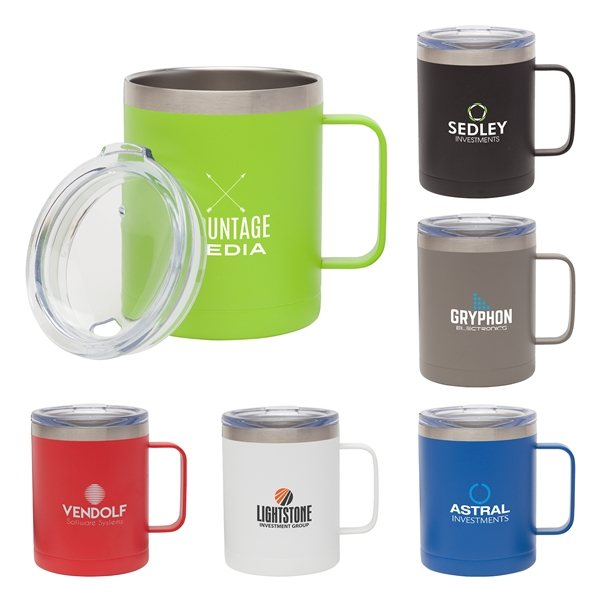 Promotional Camper 14 oz. Double Wall, Vacuum Mug w / Copper Lining