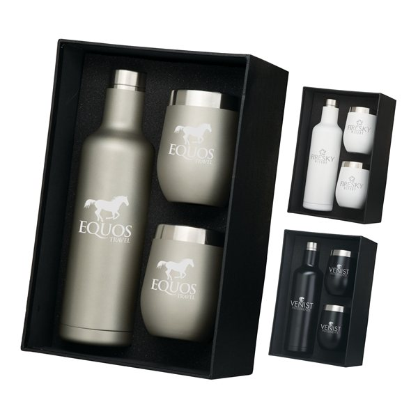 Promotional Bliss Wine Bottle 2 Tumbler Gift Set