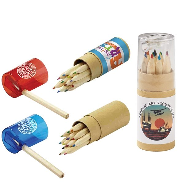 Promotional 12- Color Pencil Set in Tube with Sharpener