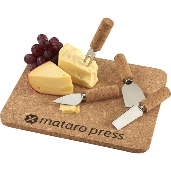 Promotional Cork 5 Piece Cheese Serving Set