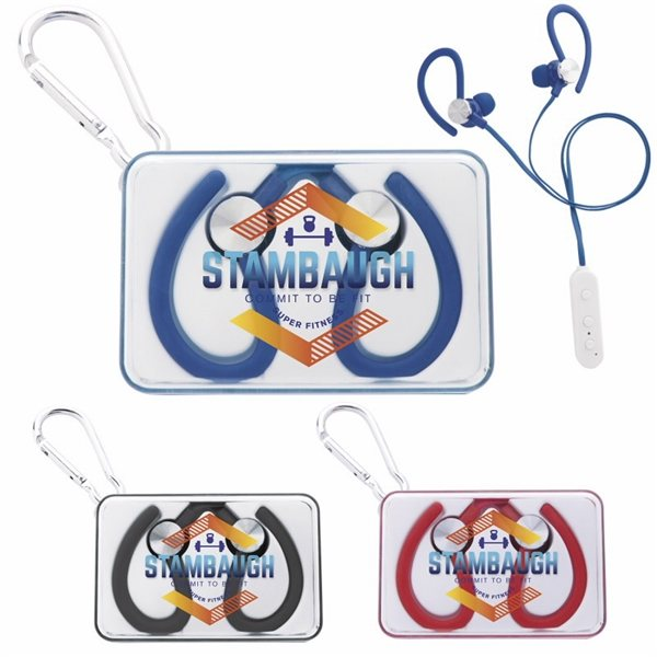 Promotional BT Earbuds in Plastic Case with Carabiner
