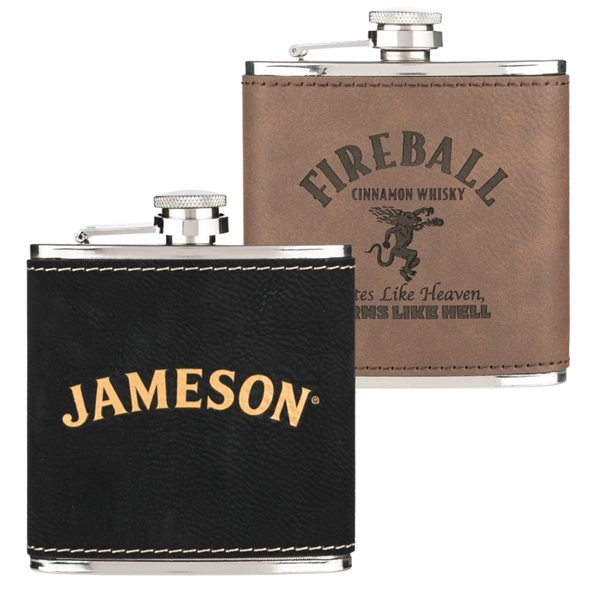 Promotional Leatherette Wrapped 6 oz. Stainless Steel Hip Flask