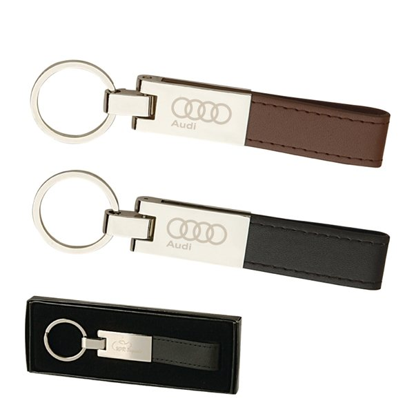 Promotional Leather and Silver Keyring