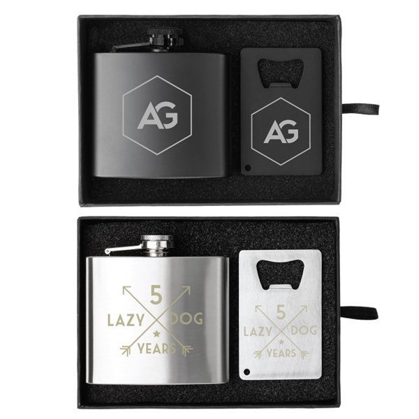 Promotional Crafter 5 oz. Flask and Bottle Opener Gift Set