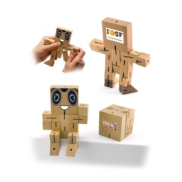 Promotional Wood Brain Teaser Puzzle Robot Cube