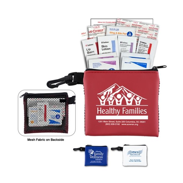 Promotional Team Mom 21 Piece All Purpose First Aid Kit in Zipper Mesh Pouch