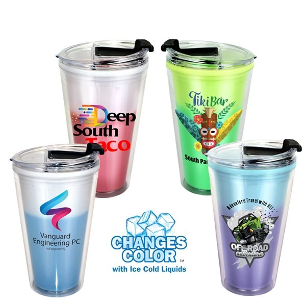 Promotional 16 oz. Mood Victory Acrylic Tumbler with Flip Top Lid, Full Color Digital