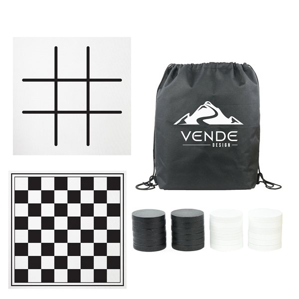 Promotional Oversized Checkers With Mat Carrying Case