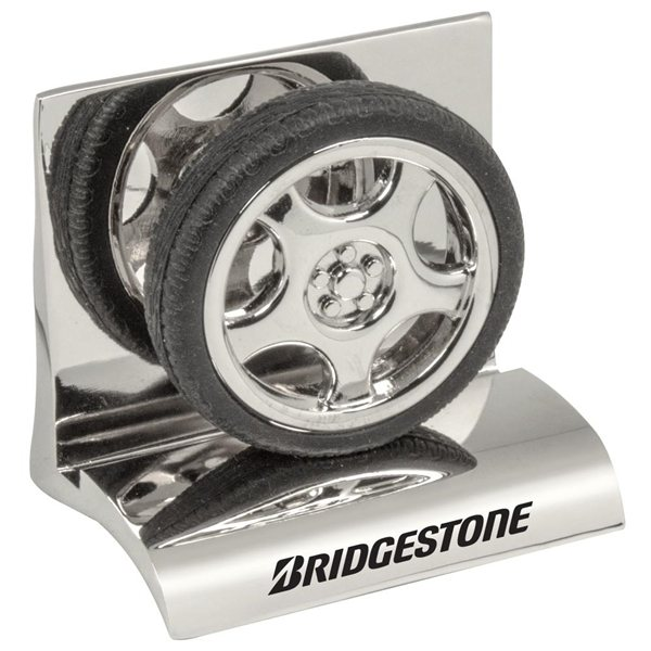Promotional Chrome Metal Business Card Holder - Tire