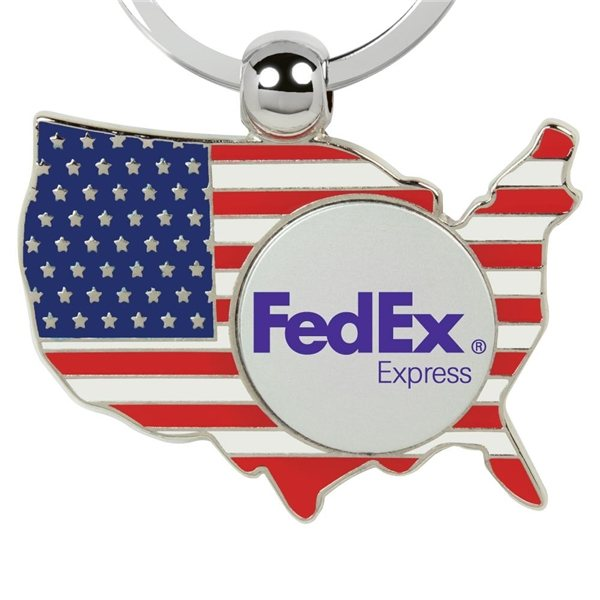 Promotional 2 x 2-7/8 x 3/8 Metal North American Shaped Flag Keychain