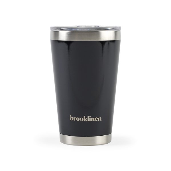 Promotional Aviana(TM) Vale Double Wall Stainless Pint - 16 oz - Black Opaque Gloss