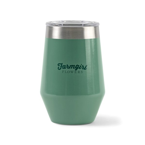 Promotional Aviana(TM) Vine Double Wall Stainless Wine Tumbler - 12 oz - Sage Opaque Gloss