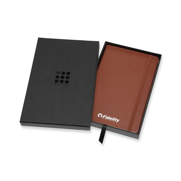 Promotional Moleskine(R) Leather Ruled Large Notebook - Sienna Brown