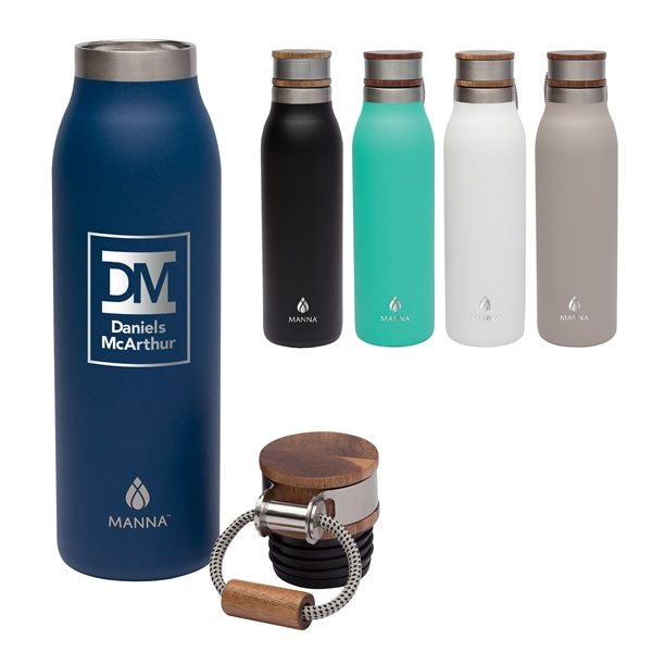 Promotional Manna(TM) Ascend 18 oz. Stainless Steel Water Bottle w / Acacia Lid