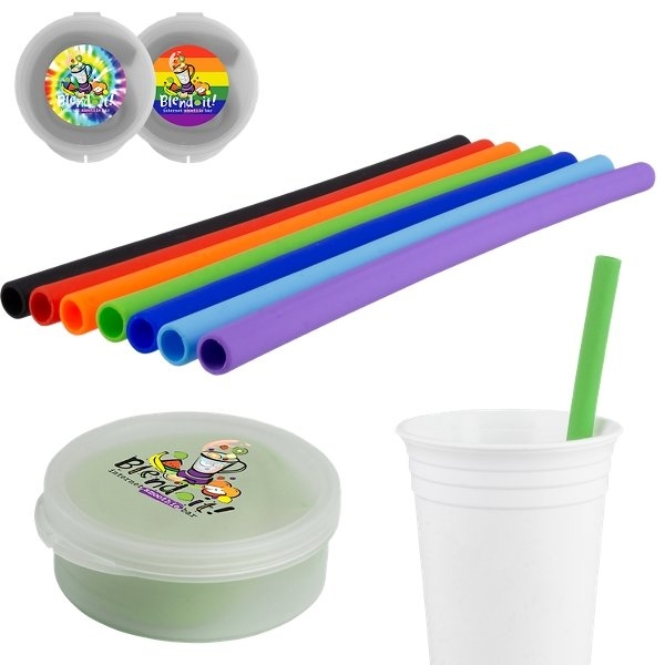Promotional Silicone Straw in Round Case