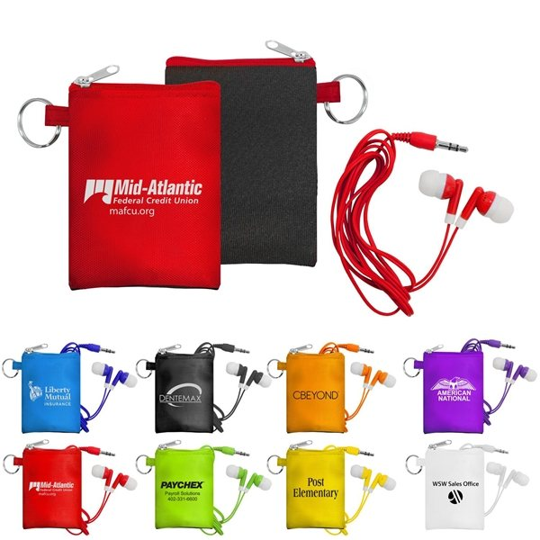 Promotional Tall Stretchy Pouch With Colorful Ear Buds
