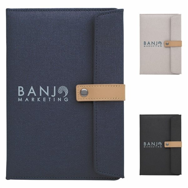 Promotional Two - Tone Journal With Leather Closure