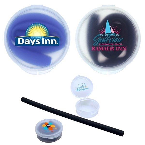 Promotional Silicone Straw with Plastic Case
