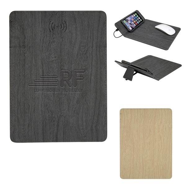 Promotional Woodgrain Wireless Charging Mouse Pad With Phone Stand