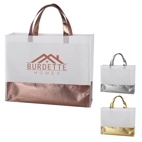 Promotional Flair Metallic Accent Non - Woven Tote Bag
