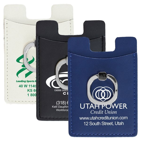 Promotional Stand Out Cell Phone Wallet with Metal Ring Holder and Stand