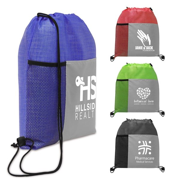 Promotional Metroplex - Non - Woven Drawstring Bag with 210D Pocket