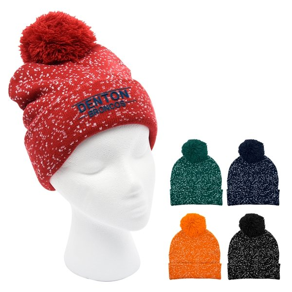 Promotional Speckled Pom Beanie With Cuff