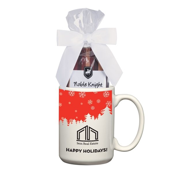 Promotional 15 oz Full Color Mug With Two Packs Of Hot Cocoa