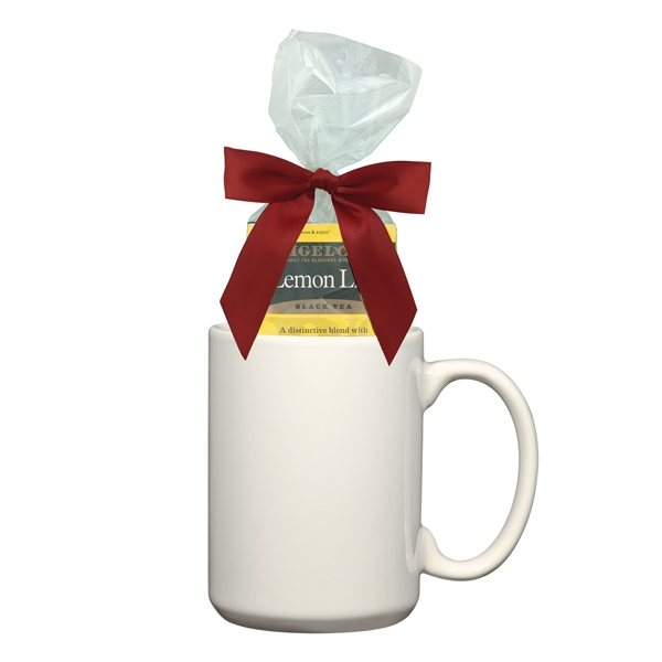 Promotional 15 oz Full Color Mug With Four Assorted Tea Bags