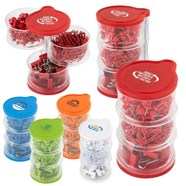 Promotional Tower of Clips and Push Pins
