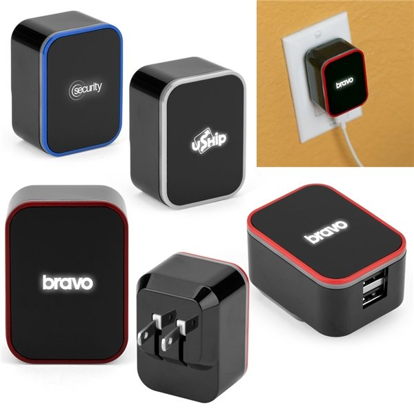 Promotional Light - Up 2 Port Wall Adapter