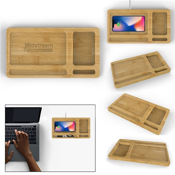Promotional Bamboo Wireless Charger Tray - 10W