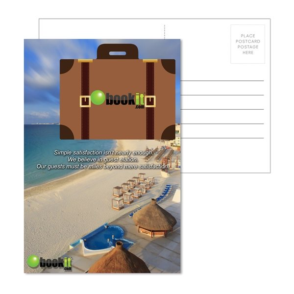 Promotional Post Card With Full - Color Suitcase Luggage Tag