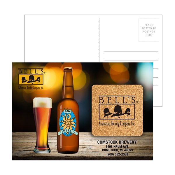 Promotional Post Card with Square Cork Coaster