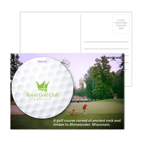 Promotional Post Card With Full - Color Golf Luggage Tag