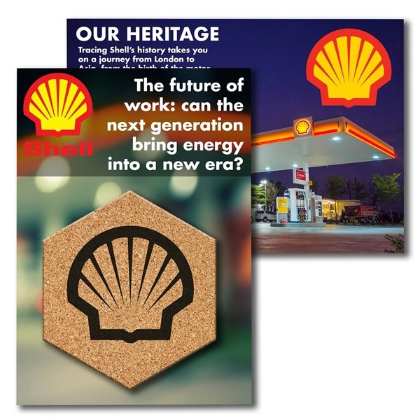 Promotional Post Card with Hexagon Cork Coaster