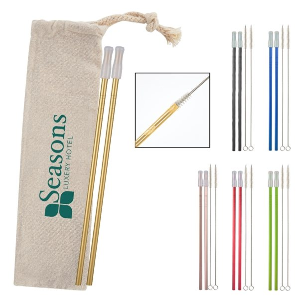 Promotional 2- Pack Park Avenue Stainless Straw Kit With Cotton Pouch