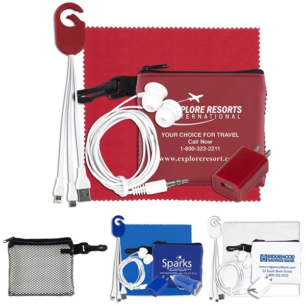 Promotional TechMesh Clip Mobile Tech Accessory Kit in Mesh Zipper Pouch Components inserted into Zipper Pouch