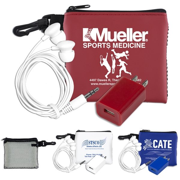 Promotional TechMesh Charge Mobile Tech Earbud and Charger Kit in Mesh Zipper Pouch Components inserted into Zipper Pouch