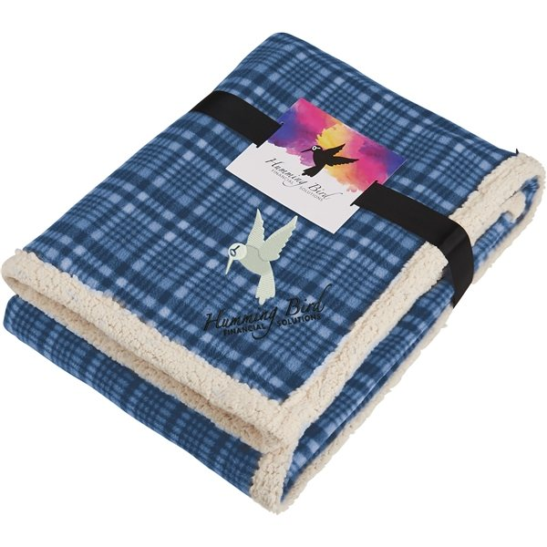 Promotional Field Co.(R) Plaid Sherpa Blanket w / Full Color Car