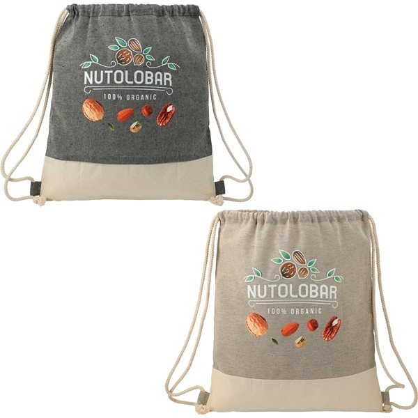 Promotional Split Recycled Cotton Drawstring Bag