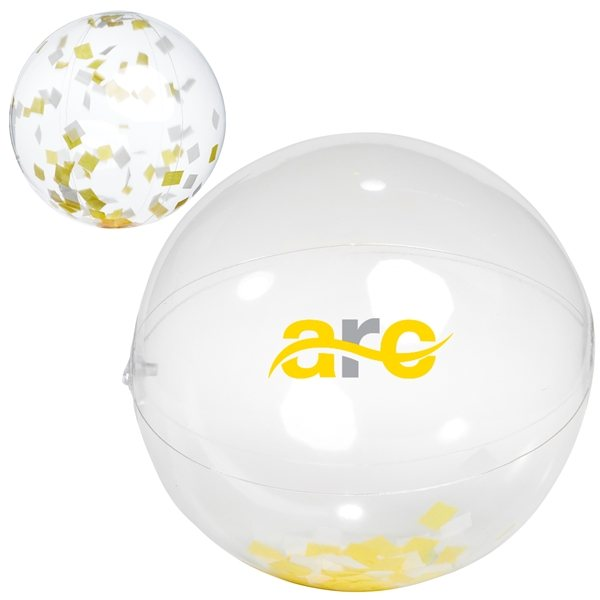 Promotional 16 Yellow / White Confetti Beach Ball