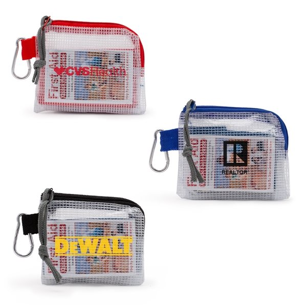 Promotional First Aid Kit in a Zippered Clear Nylon Bag