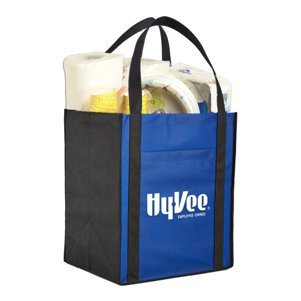 Promotional Large Non - Woven Grocery Tote W / Pocket
