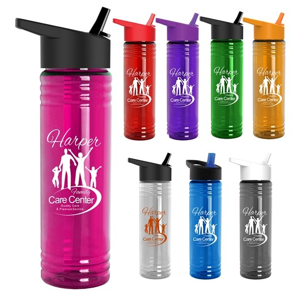 Promotional 24 oz Slim Fit Water Bottles With Flip Straw Lid